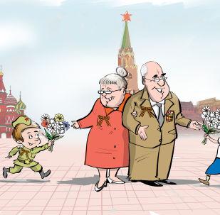 Veterani della Seconda guerra mondiale sulla piazza Rossa a Mosca