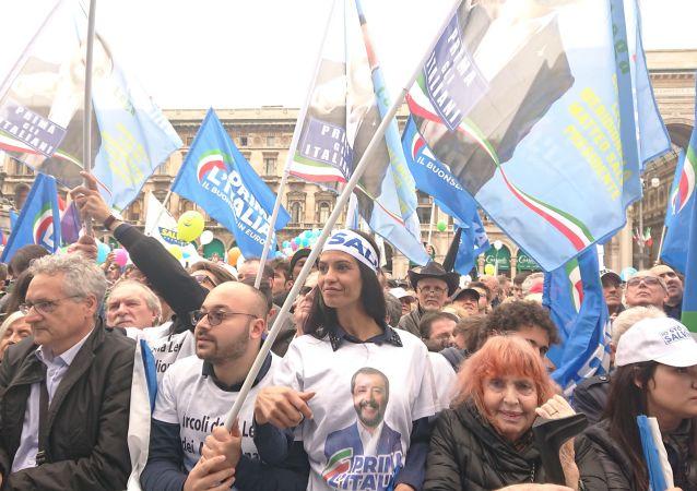 Comizio di Matteo Salvini a Milano