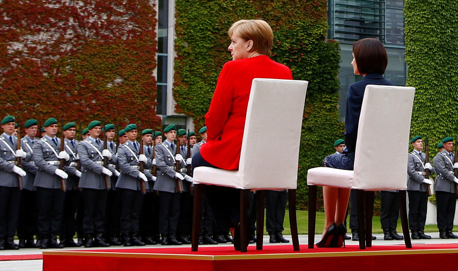 La cancelliera Angela Merkel ricevuta dal primo ministro moldavo Maia Sandu a Berlino