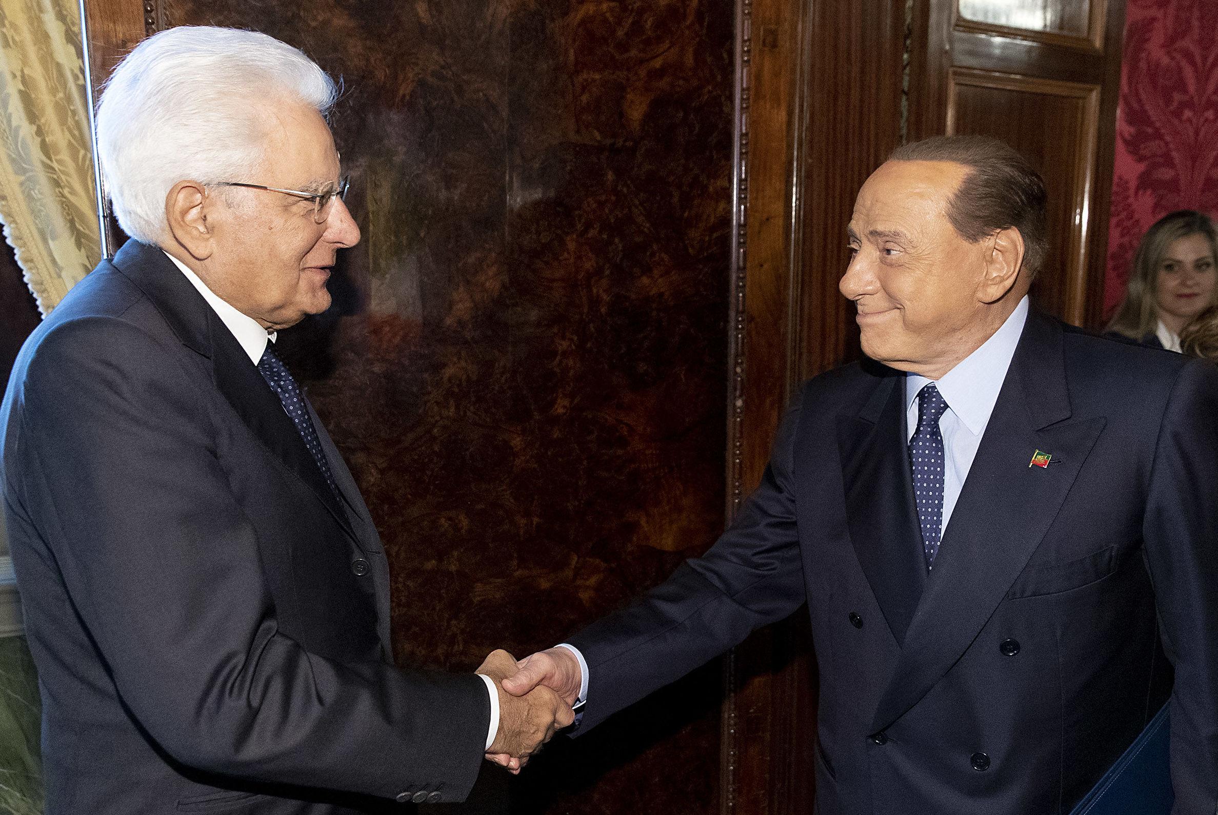 """Il Presidente della Repubblica Sergio Mattarella  con il Dott. Silvio BERLUSCONI, Presidente del Partito """"Forza Italia – Berlusconi Presidente"""""""