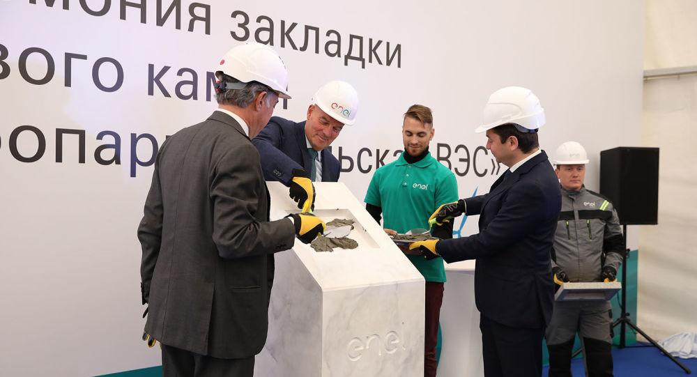 La posa della prima pietra della centrale eolica Kolskaya