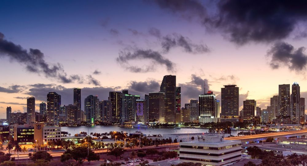 Miami, Florida, skyline, sunset