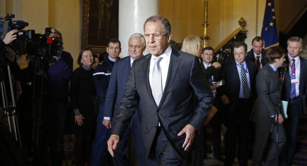 Ministro degli Affari Esteri della Russia Serghey Lavrov dopo gli incontri dei Quattro di Normandia a Parigi
