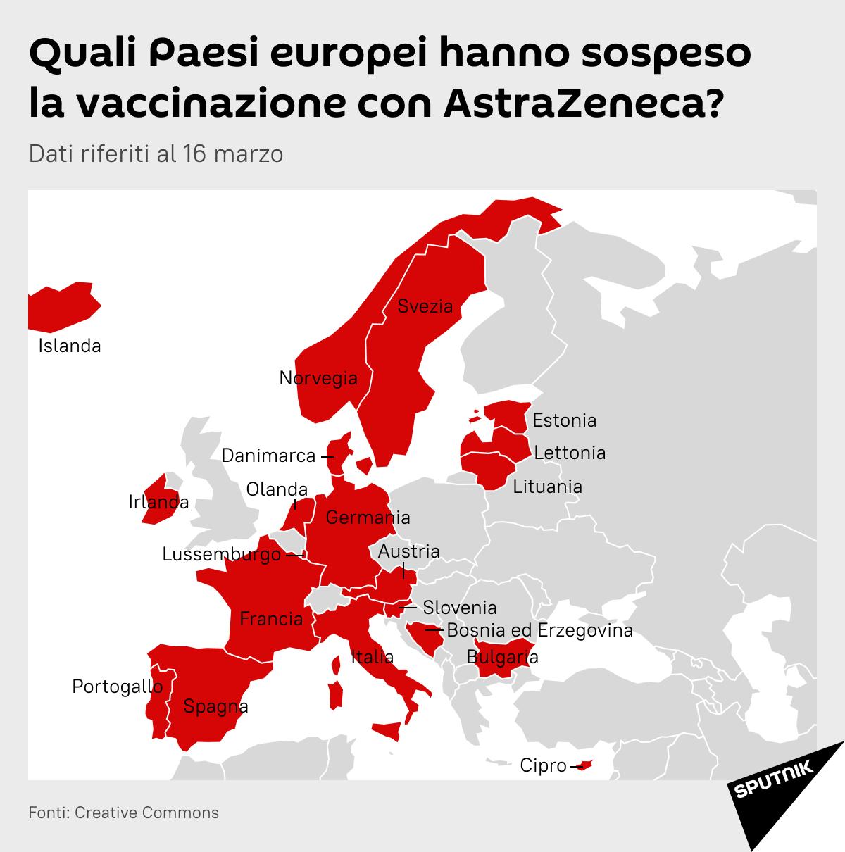 Paesi europei che hanno sospeso la vaccinazione con AstraZeneca - Sputnik Italia, 1920, 17.03.2021