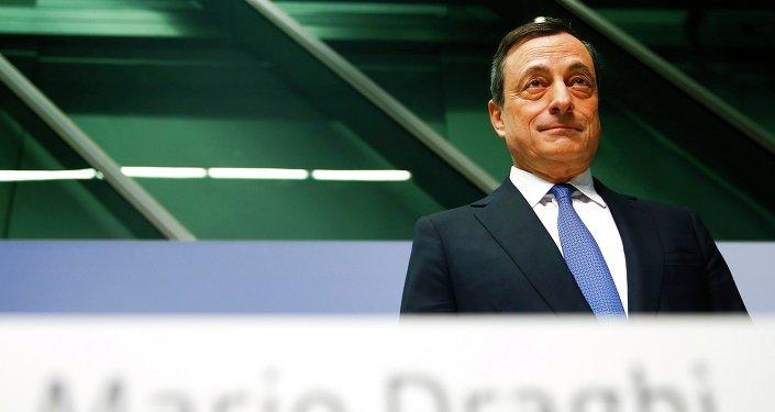 Presidente Mario Draghi alla conferenza di ECB a Francoforte. Il 22 gennaio 2015