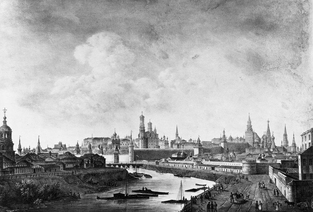 Litografia del Cremlino ad inizio '800