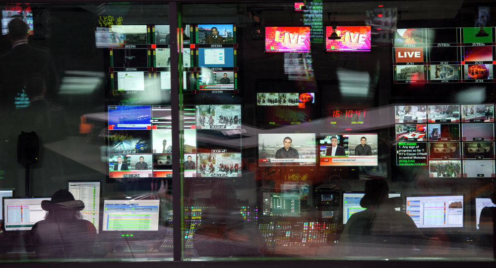 Control room of the Russia Today English-language newsroom.