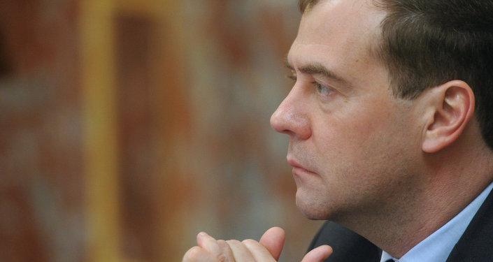 Il primo ministro russo Dmitry Medvedev.