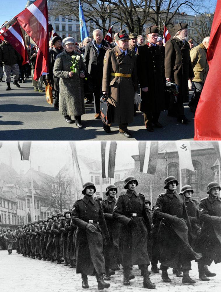 Lettonia 2015/1945 In alto la marcia di oggi, in basso la legione volontaria lettone delle SS.