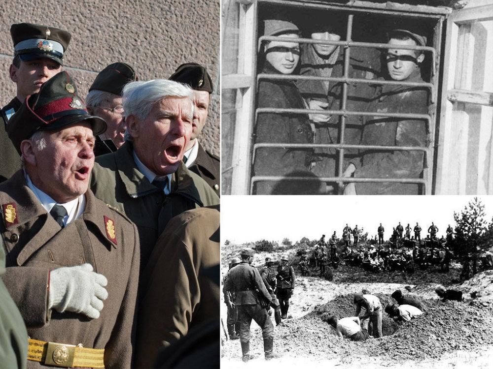 A sinistra un frammento della marcia del 16 marzo, a destra foto dei lager nazisti dove i prigionieri ebrei si scavano la propria tomba.