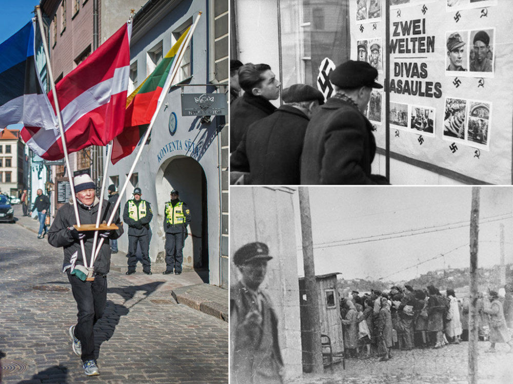 A destra la marcia del 16 marzo, a sinistra in alto propaganda antisemita in Lettonia nel 1941, in basso donne ebree in un ghetto della Lettonia.