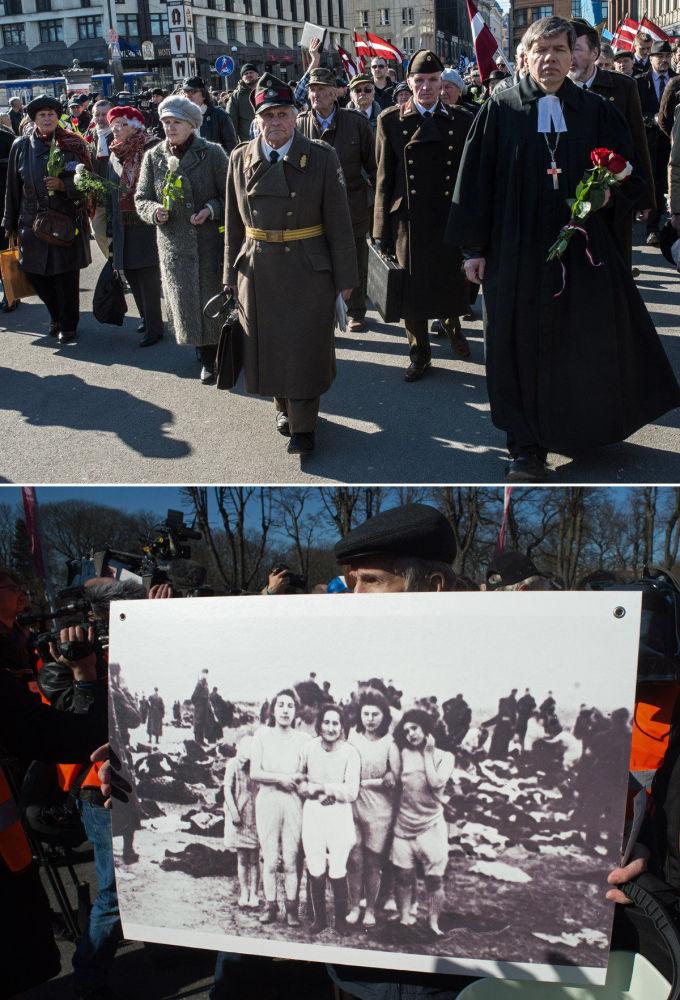 Riga divisa in due, in alto la marcia in memoria della divisione lettone Waffen-SS (Schutzstaffel), in basso un momento della contromanifestazione.