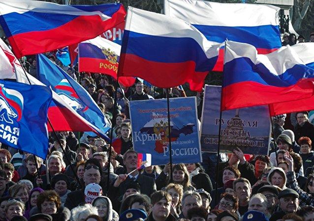 Manifestazione a sostegno della riunificazione con la Russia in Crimea (foto d'archivio)