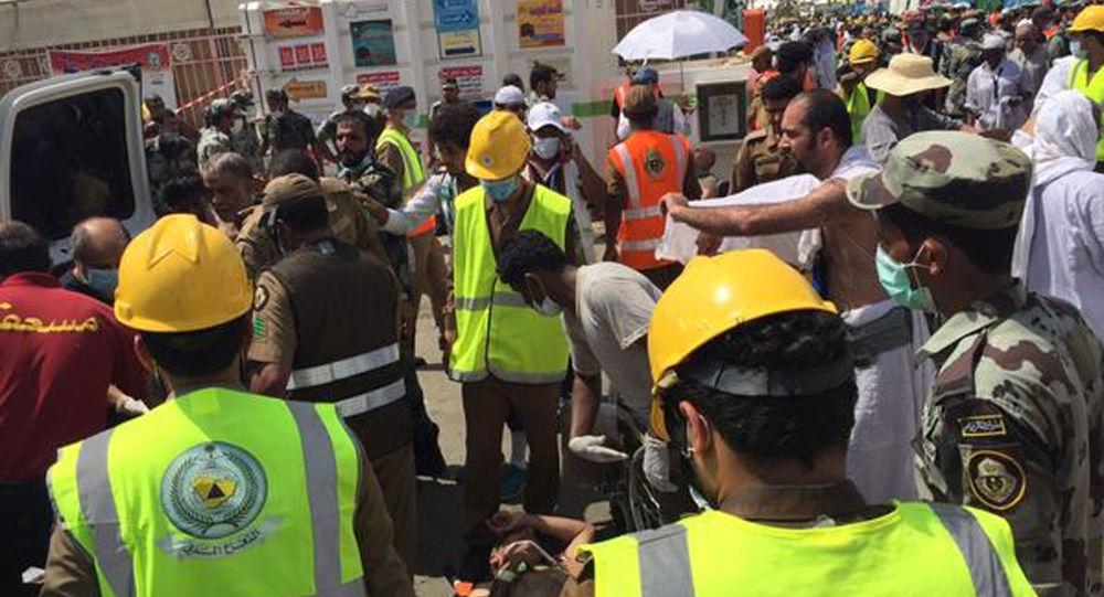 Soccorritori al luogo della ressa alla Mecca, Arabia Saudita