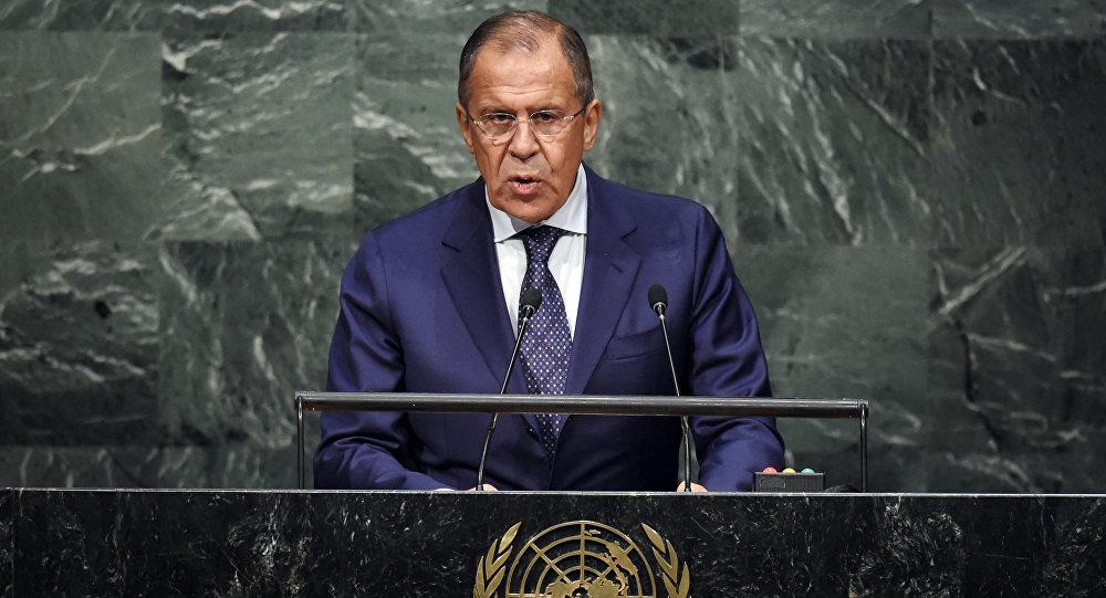 Il ministro degli esteri russo Sergey Lavrov all'Assemblea Generale ONU