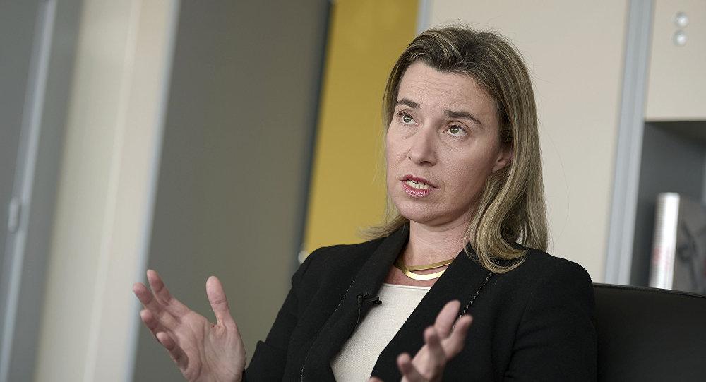 Il capo della diplimazia europea Federica Mogherini a Strasburgo