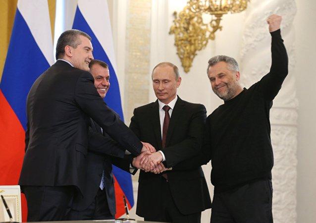 Vladimir Putin, Sergey Aksyonov, Vladimir Konstantinov e Aleksei Chaly