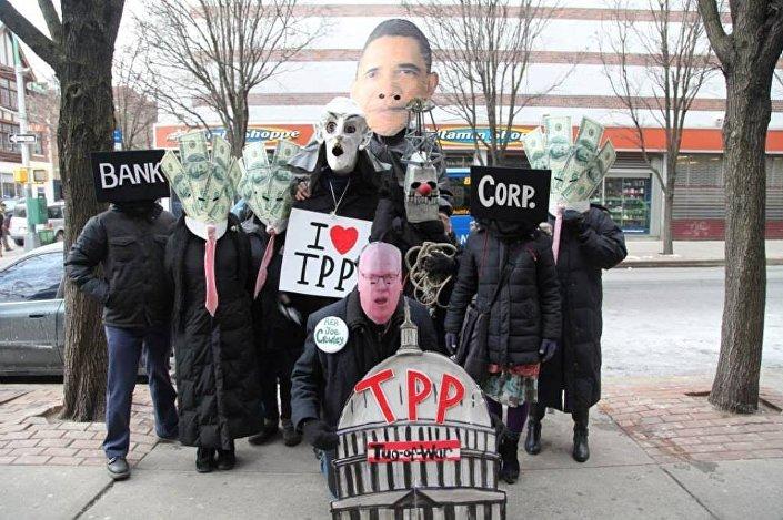 Una manifestazione di protesta contro il TPP