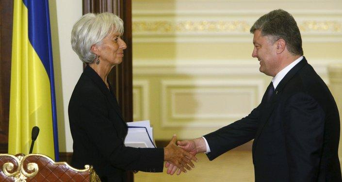 Incontro tra Christine Lagarde (FMI) e Petr Poroshenko (Ucraina) - foto d'archivio