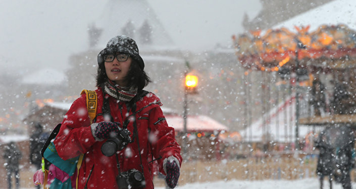 Turista a Mosca d'inverno