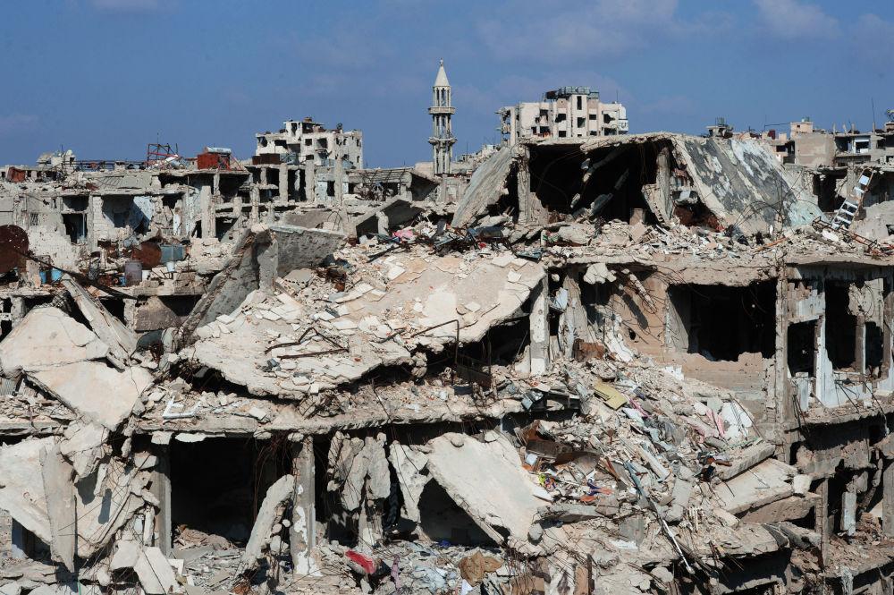 Le case distrutte nella città siriana di Homs.