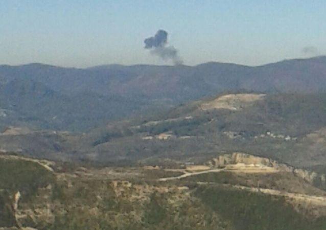 Luogo di schianto del jet russo al confine tra Siria e Turchia