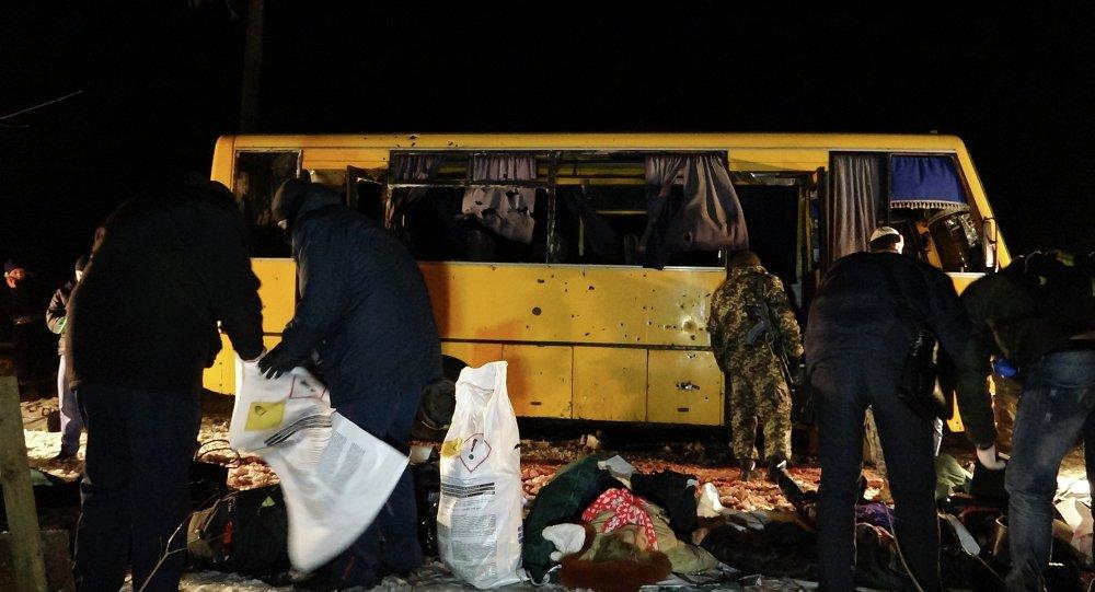 Autobus esploso a Volnovakha, nel Donbass