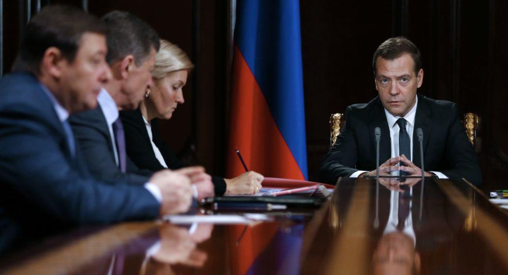 Riunione di governo presieduta da Dmitry Medvedev