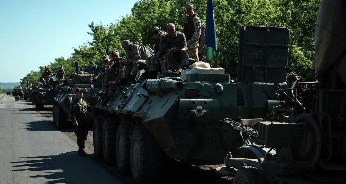 Colonna esercito ucraino nel Donbass (foto d'archivio)