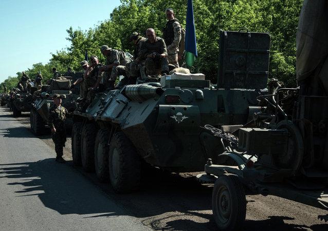Colonna dell'esercito ucraino nel Donbass