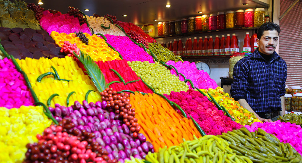 Prodotti agricoli in mercato siriano