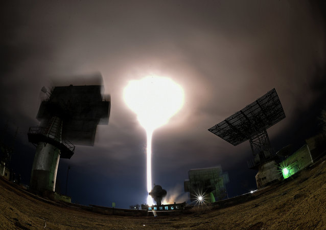 Russia's Soyuz TMA-16M spacecraft carrying the International Space Station (ISS) crew of US astronaut Scott Kelly and Russian cosmonauts Gennady Padalka and Mikhail Kornienko blasts off from the launch pad at Russian-leased Baikonur cosmodrome early on March 28, 2015