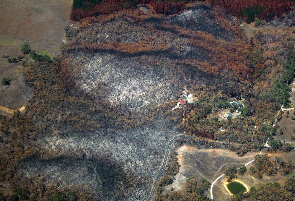 Ettari di terreno in fiamme nella provincia di Adelaide.