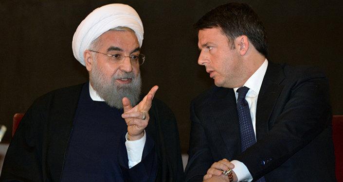 Hassan Rohani e Matteo Renzi