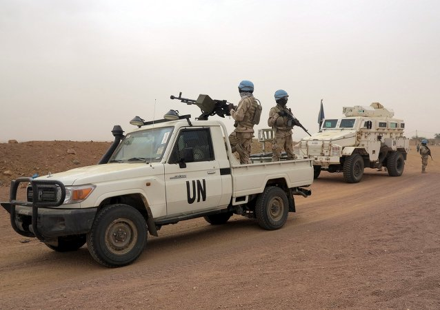 UN peacekeepers patrol in Kidal, Mali