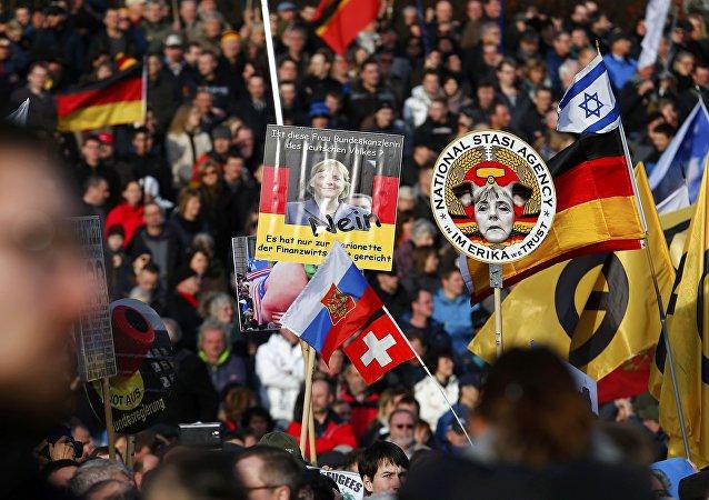 Manifestazione di Pegida a Dresda