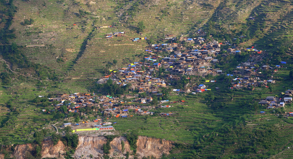 View of an earthquake affected village in the Gorkha District, some 250kms north-west of Kathmandu, Nepal