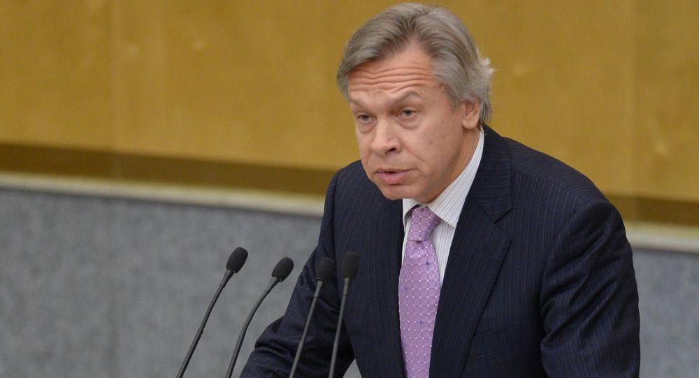 Alexey Pushkov; presidente della Commissione Esteri della Duma
