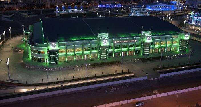 Il nuovissimo Velodromo di Ashgabat, vista dell'edificio dall'esterno