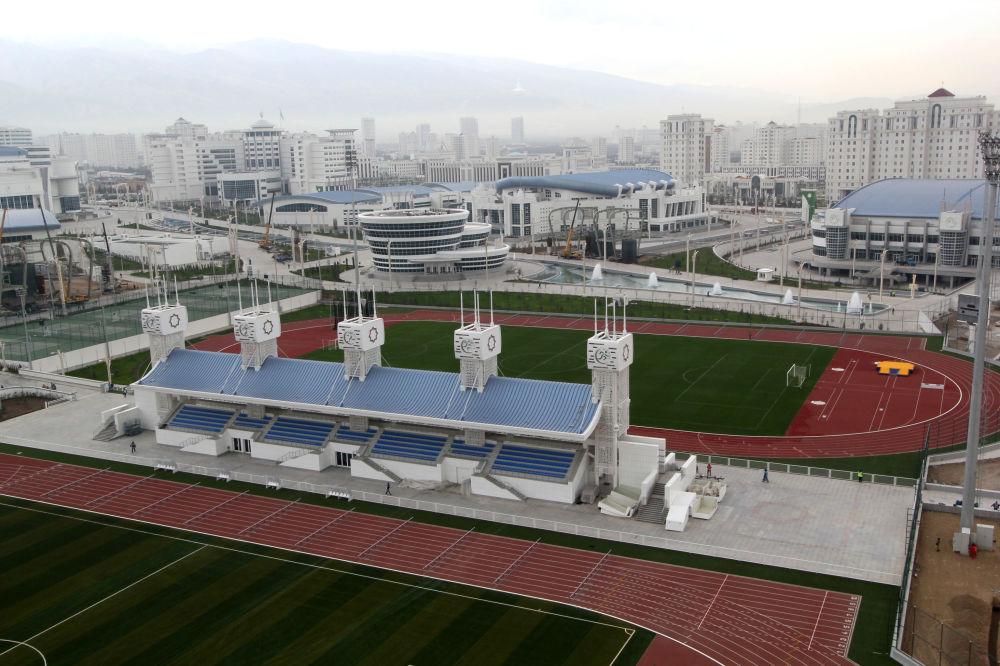 Veduta aerea del complesso del Parco Olimpico di Ashgabat