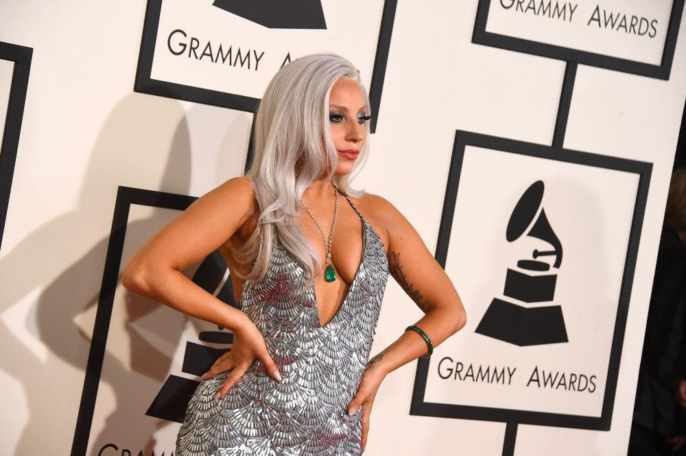 Lady Gaga alla 57° cerimonia di consegna dei Grammies.