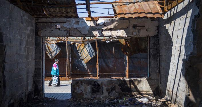 La casa distrutta a Donetsk
