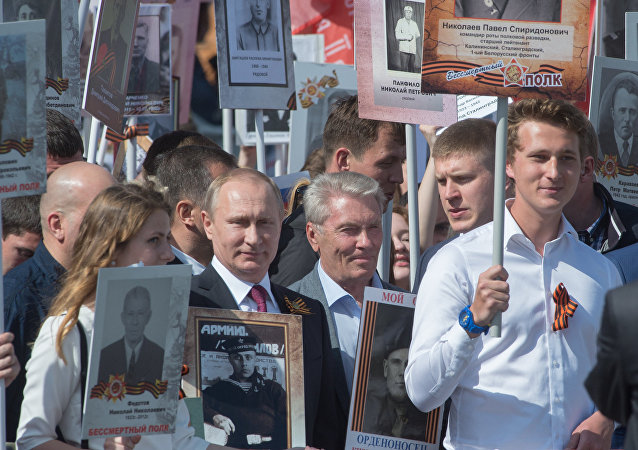 Presidente Putin durante il corteo Reggimento degli Immortali il 9 maggio a Mosca