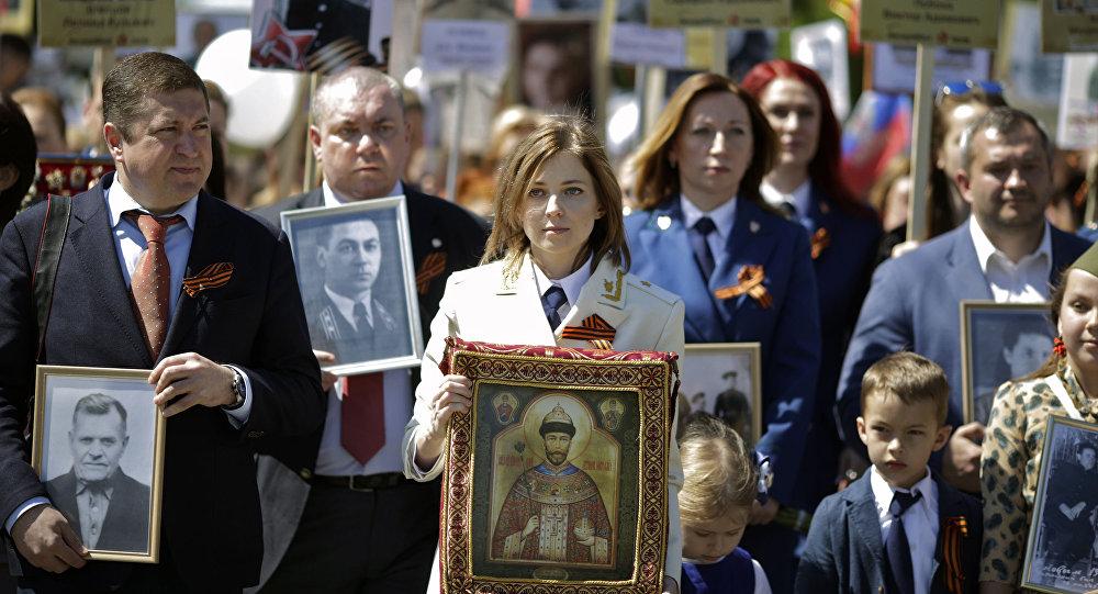 Natalya Poklonskaya al Reggimento degli Immortali