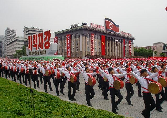 I tamburi alla manifestazione in Corea del Nord