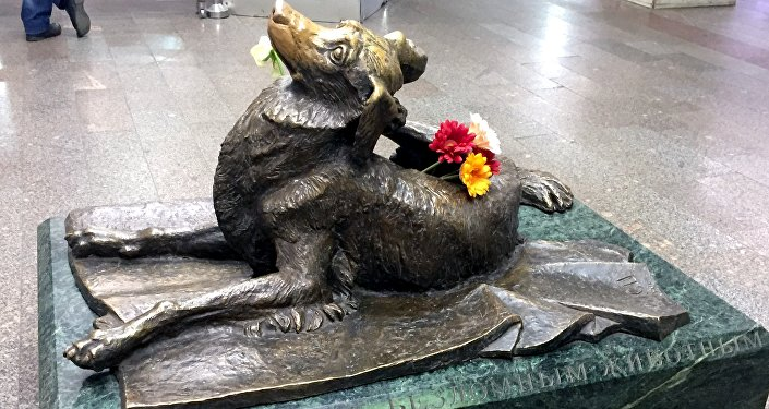 Il monumento Compassione dedicato agli animali randagi, alla stazione Mendeleevskaja della metro di Mosca