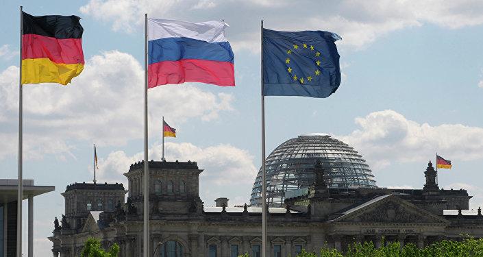 Bandiere di Germania, Russia e UE
