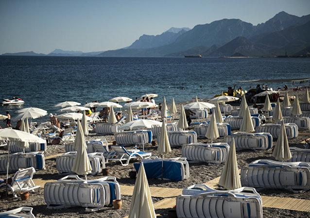 Una spiaggia vuota in Turchia.