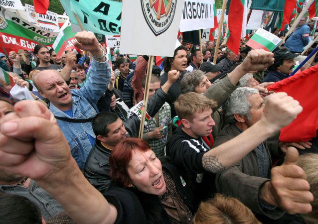 Proteste contro la NATO a Sofia (Bulgaria)