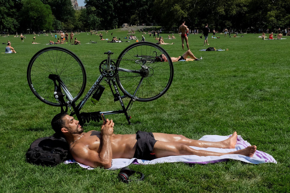 La gente prende il sole nel Parco Centrale di New York, USA.